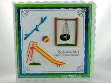 Glückwunschkarte für Kinder mit Spielplatzmotive, Schaukel, Rutsche, Wippe , ca. 15 x 15 cm