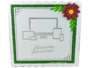 Geburtstagskarte mit Fernseher, Mobil Telefon und Blume, ca. 15 x 15 cm - Handarbeit kaufen