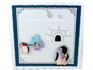 Geburtstagskarte mit Pinguine, Iglo, Berge und Schnee, ca. 15 x 15 cm - Handarbeit kaufen