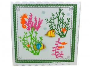 Geburtstagskarte Maritim mit Fische und Seepferd, ca. 15 x 15 cm - Handarbeit kaufen