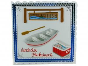 Geburtstagskarte Mann mit Boat, Paddel, Kühlbox und Schild, ca. 15 x 15 cm - Handarbeit kaufen