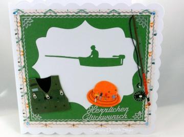Grußkarte Ruhestand, Glückwunschkarte, Geburtstagskarte Angler mit Boat, Angler, Weste und Anglerhut,  ca. 15 x 15 cm