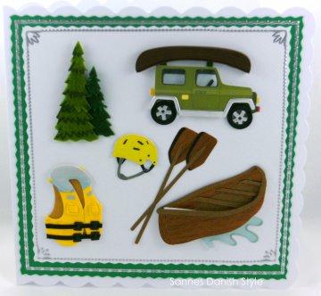 Geburtstagskarte Urlaub mit Kanu, Paddel, Rettungsweste, Helm und Auto, ca. 15 x 15 cm