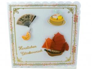 Glückwunschkarte mit Motive, die an Asien denken lässt, ca. 15 x 15 cm - Handarbeit kaufen