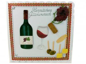 Glückwunschkarte mit Weinflasche, Weinglas, Trauben, Käse und Oliven, ca. 15 x 15 cm