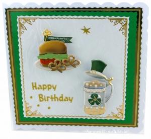 Happy Birthday Karte mit Motive, die an Irland erinnern, ca. 15 x 15 cm - Handarbeit kaufen