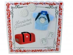 Glückwunschkarte Volleyball Sport für Volleyballer mit Sporttasche, Shirt und Volleybälle, ca. 15 x 15 cm - Handarbeit kaufen