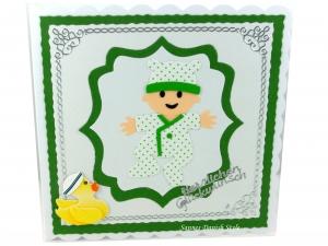 Glückwunschkarte für einen Jungen, Karte zur Taufe oder Geburt , ca. 15 x 15 cm - Handarbeit kaufen