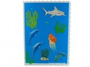 Geburtstagskarte mit eine Meerjungfrau, Delphine und ein Hai, DIN A5 Format. - Handarbeit kaufen