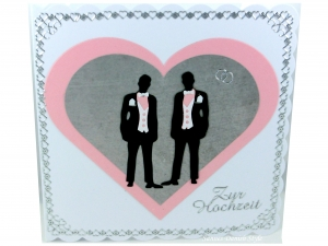 Hochzeitskarte für zwei Männer, mit Herz in rosa und grau, Bordüre Herzen und zwei Männer ca 15 x 15 cm - Handarbeit kaufen