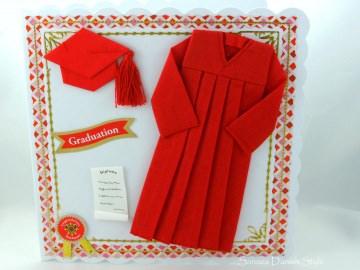Glückwunschkarte Diplom für Prüfung bestanden, mit Mütze in rot, ca. 15 x 15 cm