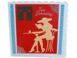 Geburtstagskarte Frankreich mit Frau, Tisch, Buch, Stuhl und Hut, die Karte ist ca. 15 x 15 cm - Handarbeit kaufen