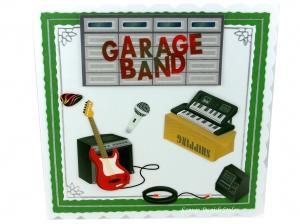 Geburtstagskarte, Musiker, Konzert, Eintrittskarte, E-Gitarre, Keyboard, Mikrofon, Garagetor, die Karte ist ca. 15 x 15 cm - Handarbeit kaufen