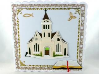 Glückwunschkarte Kirche, Fisch und Buch für Hochzeit oder andere Kirchliche Anlässe, ca. 15 x 15 cm
