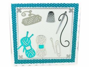 Glückwunschkarte mit Garn, Stricknadel, Nadel und Sicherheitsnadel für alle die gerne Nähen, ca. 15 x 15 cm