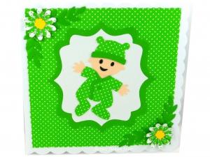 Glückwunschkarte, Grußkarte, Taufe, Baby, Strampler, Mütze, Geburtskarte, Blumen, Die Karte ist ca. 15 x 15 cm  - Handarbeit kaufen