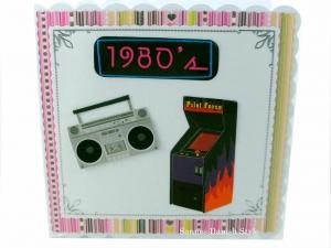 Geburtstagskarte mit 80'er Motive, die Karte ist ca. 15 x 15 cm - Handarbeit kaufen