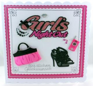 Verpackung für Shopping Gutschein, Glückwunschkarte mit Handtasche in pink, Halskette, Ohrringe, Telefon und Schuhe, ca. 15 x 15 cm