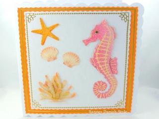 Geburtstagskarte Maritim mit Muscheln und Seepferd, ca. 15 x 15 cm