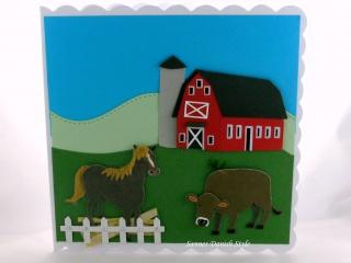 Geburtstagskarte mit Bauernhof, Pferd, Kuh und Zaun, ca. 15 x 15 cm