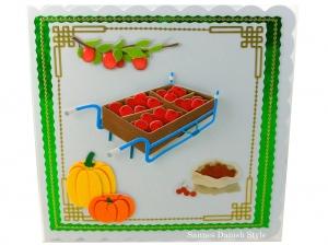 Glückwunschkarte mit Äpfel, Kürbis und Kirschen, die Karte ist ca. 15 x 15 cm  - Handarbeit kaufen