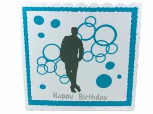Geburtstagskarte, Happy Birthday, neutrale Grußkarte, Mann, Jungs, als Silhouette und mit Kreise, die Karte ist ca. 15 x 15 cm - Handarbeit kaufen