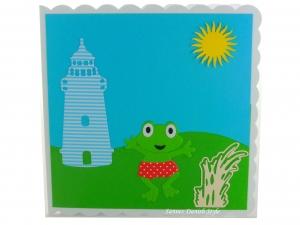 Geburtstagskarte mit Frosch, Leuchtturm, Wiese und Sonne, die Karte ist ca. 15 x 15 cm - Handarbeit kaufen
