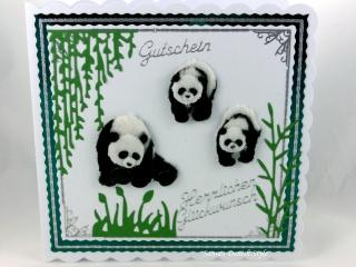 RESERVIERT Grußkarte, Geldverpackung, Pandas, Zoo Besuch, Tiere, Ranken, ca. 15 x 15 cm