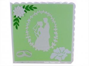 Hochzeitskarte hellgrün und weiß mit Brautpaar, Ringe und Blumen, ca 15 x 15 cm - Handarbeit kaufen