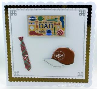 Geburtstagskarte, Grußkarte, Papa, Vater, Vatertag, Krawatte, Mütze, Schild, die Karte ist ca. 15 x 15 cm - Handarbeit kaufen