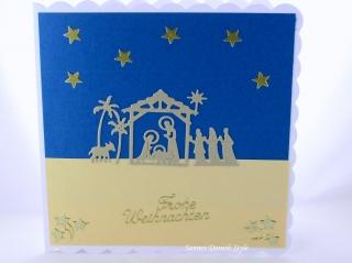 Weihnachtskarte mit die heilige Familie, die Karte ist ca. 15 x 15 cm