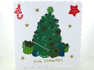 Weihnachtskarte mit Weihnachtsbaum, die Karte ist ca. 15 x 15 cm