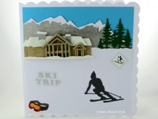 Geburtstagskarte, Grußkarte, Skiurlaub, Urlaub, Winter, Skifahrer, Hotel, Tannen und Berge, die Karte ist ca. 15 x 15 cm