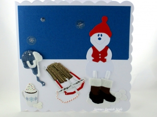 Geburtstagskarte, Grußkarte, Winter, Schneemann, Schlitten, Mütze, Kakao, die Karte ist ca. 15 x 15 cm - Handarbeit kaufen