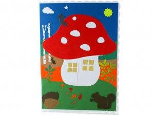 Geburtstagskarte mit Pilzhaus, Birken und Eichhörnchen, DIN A5 Format - Handarbeit kaufen