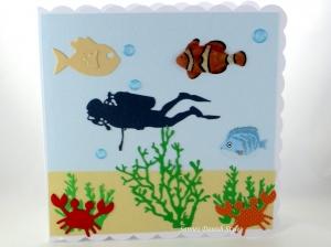Geburtstagskarte, Grußkarte, Tauchurlaub, Taucher, Fische, Meer und Pflanzen, die Karte ist ca. 15 x 15 cm