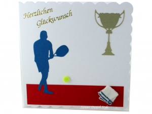 Geburtstagskarte, Grußkarte, Tennis, Tennisspieler, Pokal, Tennisball,  die Karte ist ca. 15 x 15 cm - Handarbeit kaufen