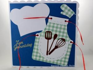 Geburtstagskarte, Verpackung für Gutscheine, Koch, Koche, Kochmütze, Schürze, Schneebesen, die Karte ist ca. 15 x 15 cm