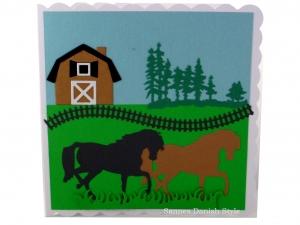 Pferdekarte, Geburtstagskarte, Grußkarte, Pferde, Stall, Zaun, ca. 15 x 15 cm - Handarbeit kaufen