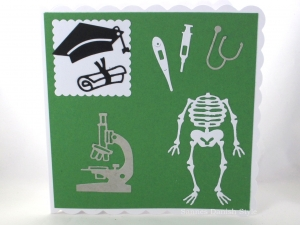 Grußkarte, Geburtstagskarte, Arzt, Diplom, Mikroskop, Skelett, ca. 15 x 15 cm