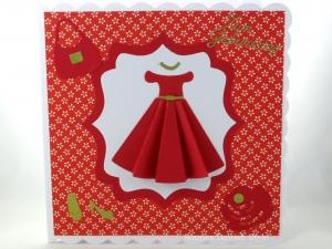 Geburtstagskarte, Glückwunschkarte, Mode, Frau, schönes, rotes Kleid,Tasche, Schuhe, Einzelstück, ca. 15 x 15 cm