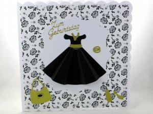 Geburtstagskarte, Grußkarte, Glückwunschkarte für Mädchen, Frau, Kleid, Modekarte, ca. 15 x 15 cm