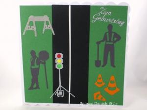 Grußkarte, Geburtstagskarte, Straßenbau, Straßenbauer, Ampel, Straßenbauer, Verkehrshütchen, ca. 15 x 15 cm