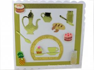 Geburtstagskarte Café Besuch, Einladung, Brunch,  Frühstücken, Verpackung für Gutscheine, die Karte ist ca. 15 x 15 cm