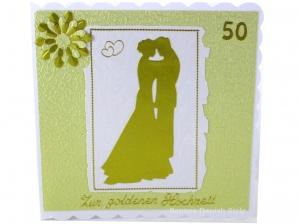Grußkarte Goldener Hochzeit, Herzen, Blume, Hochzeitspaar, 50. Jahrestag, ca 15 x 15 cm - Handarbeit kaufen