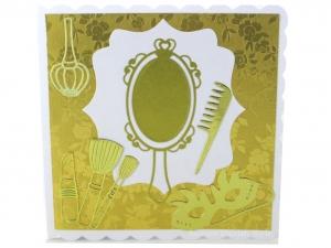 Grußkarte Geldgeschenkverpackung mit Spiegel, goldener Kamm, Lippenstift, Nagellack Puderbürste, ca. 15 x 15 cm