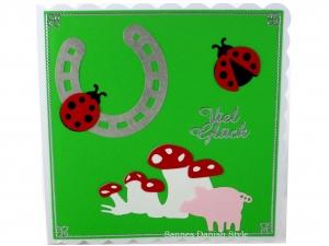 Viel Glück Grußkarte, mit Hufeisen, Marienkäfer, Glückspilze, Schwein, Palunduglück&liebe, ca. 15 x 15 cm - Handarbeit kaufen
