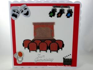 Geburtstagskarte, Verpackung für Gutscheine, Einladung, Theater, Bühne, Stühle, Spotlight, Masken, die Karte ist ca. 15 x 15 cm