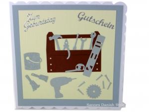 Grußkarte Heimwerker, Geburtstagskarte, Verpackung Gutschein für Hobby Bastler, Handwerker, selber Macher, ca. 15 x 15 cm
