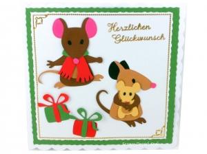 Geburtstagskarte, Grußkarte Mäuse, Verpackung für Gutschein, Geldgeschenk, mit Mäuse, ca. 15 x 15 cm - Handarbeit kaufen